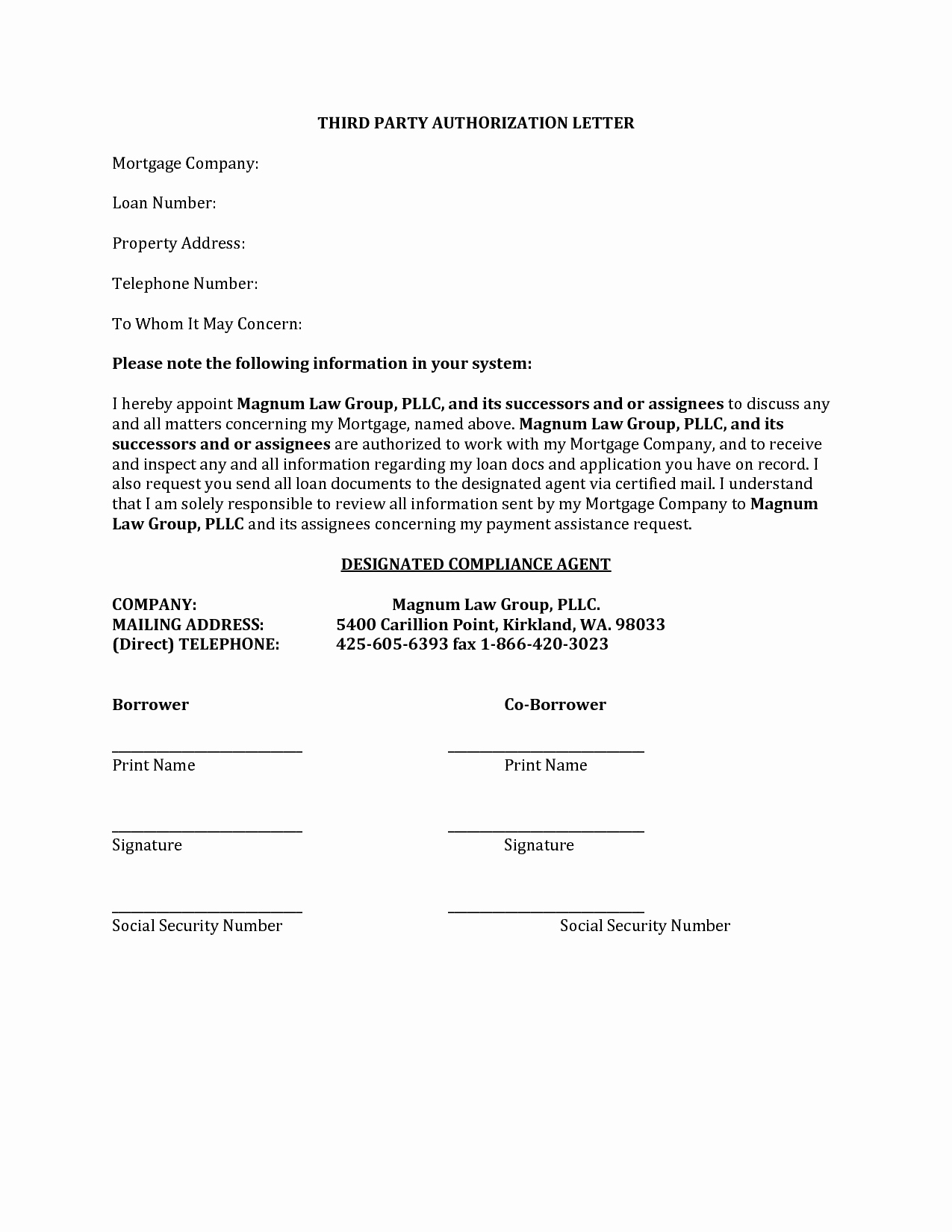 3rd Party Authorization Letter Lovely 27 Of 3rd Party Authorization form Template