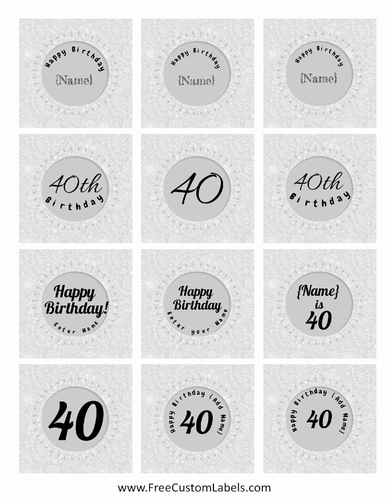 40th Birthday Free Printables Awesome 40th Birthday Cupcake toppers Free & Customizable