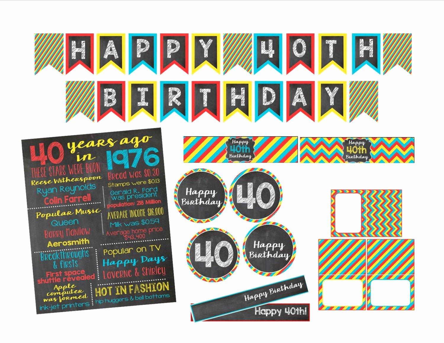 40th Birthday Free Printables Beautiful 40th Birthday Decorations Printable Items by Stephanndesigns
