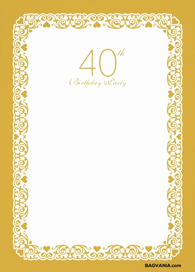 40th Birthday Free Printables Best Of Free Printable 40th Birthday Invitation Template