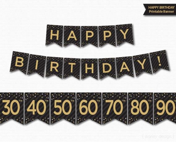 40th Birthday Free Printables Best Of Happy Birthday Banner Printable 30th 40th 50th 60th 70th