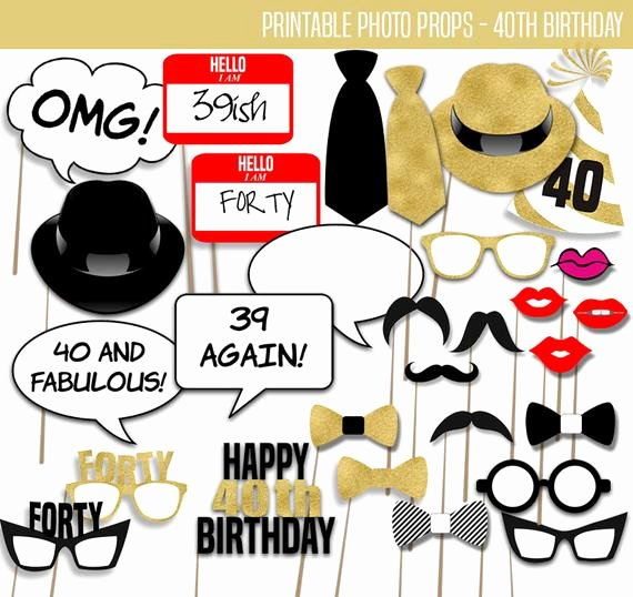 40th Birthday Free Printables Elegant Printable Booth Props 40th Birthday Photo Prop Party