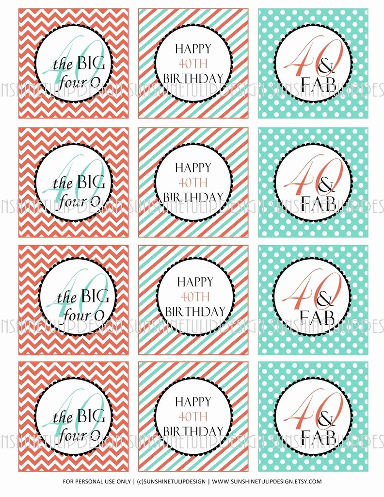 40th Birthday Free Printables Fresh Printable 40th Birthday Coral and Aqua Cupcake toppers
