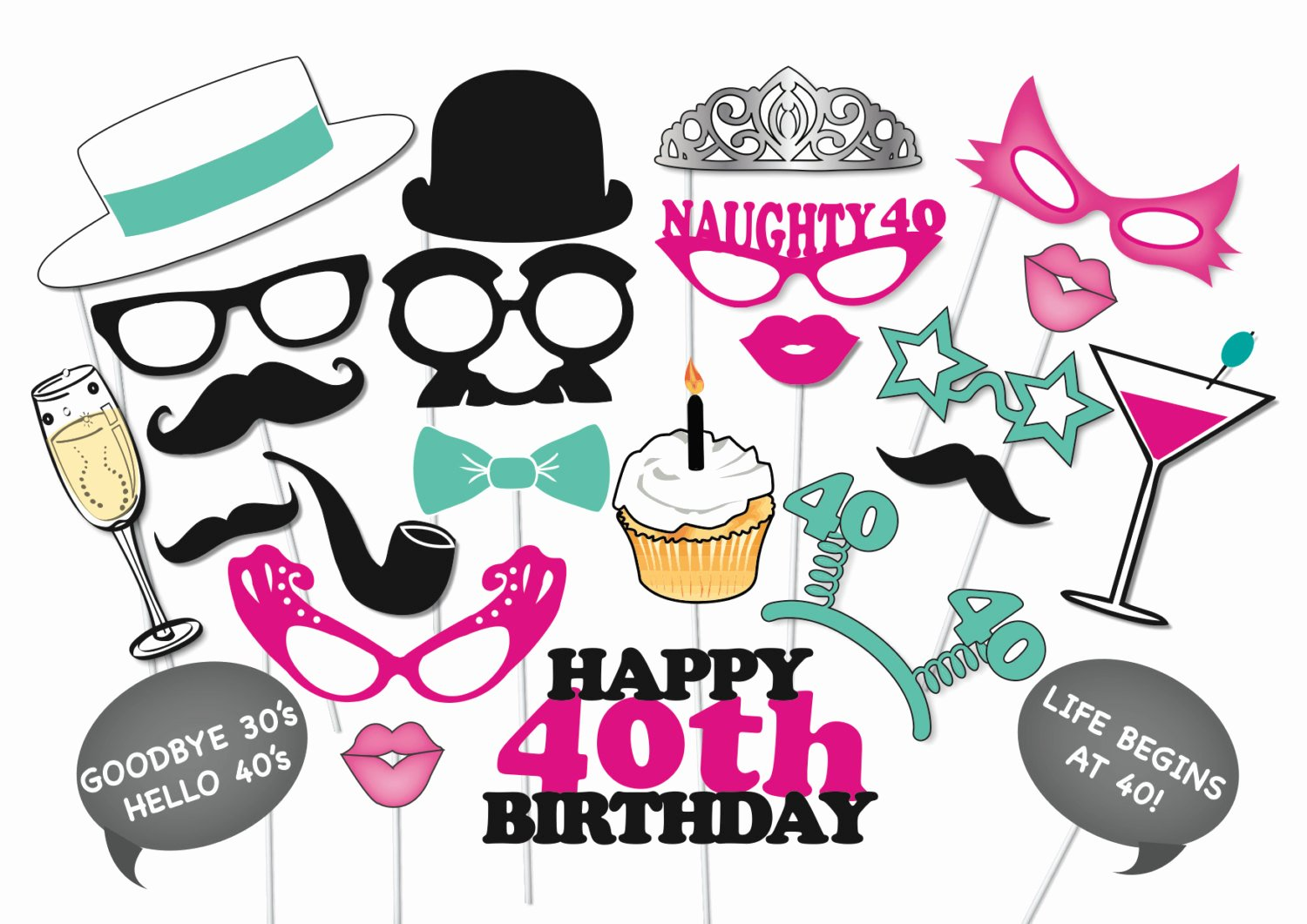 40th Birthday Free Printables Inspirational 40th Birthday Booth Party Props Set 26 Piece Printable