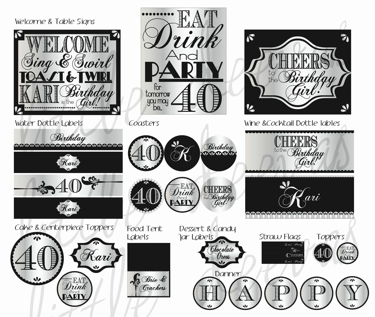 40th Birthday Free Printables Lovely 40th Birthday Pdf Printable Party Pack $40 00 Via Etsy