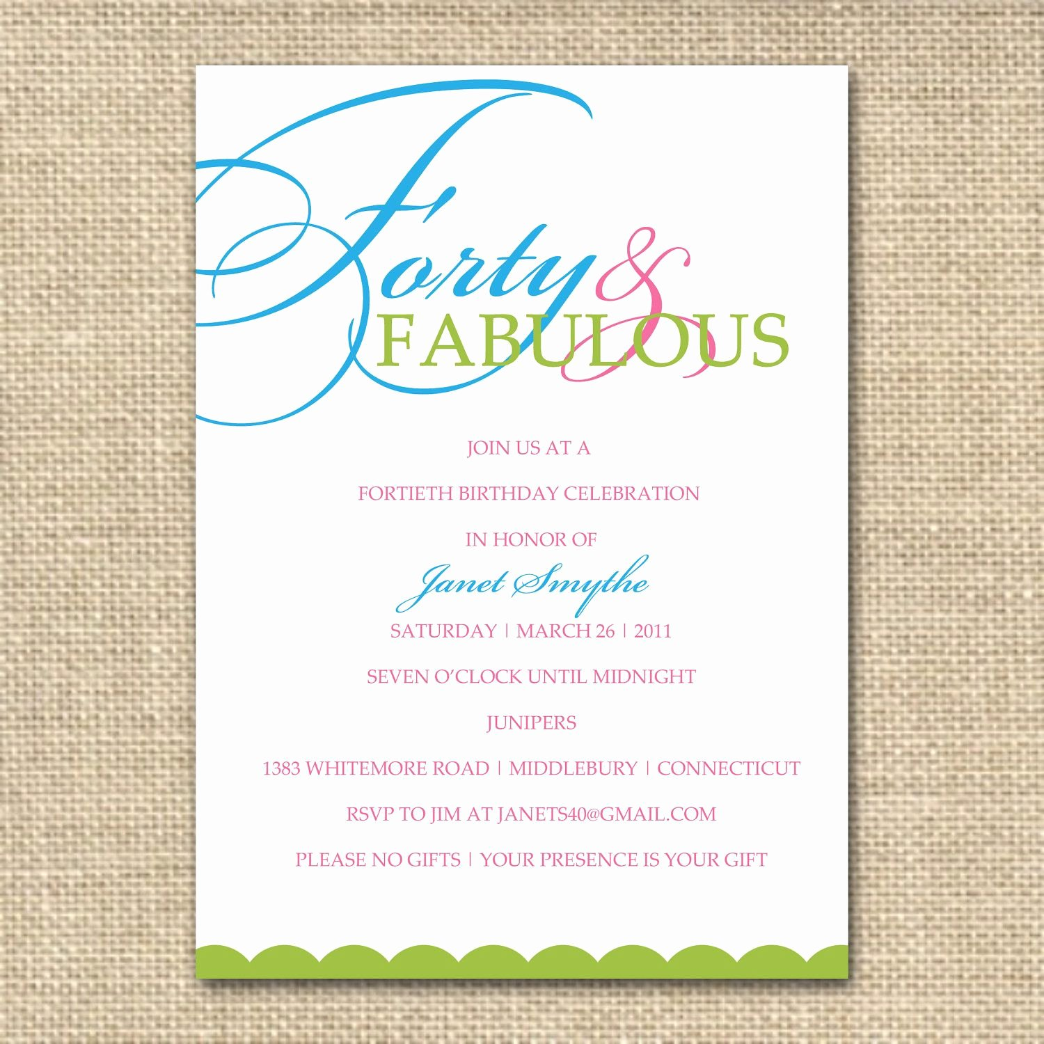 40th Birthday Free Printables New 40th Birthday Invitation forty and Fabulous Printable