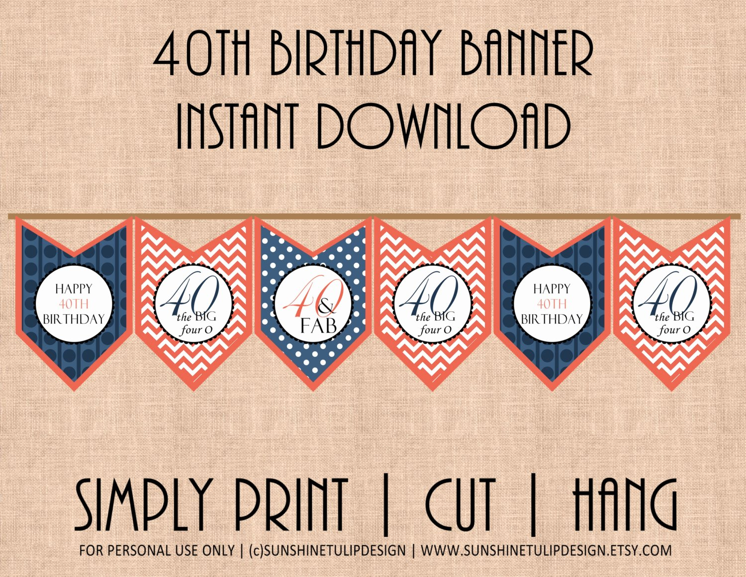 40th Birthday Free Printables New 40th Birthday Printable Banner Coral and Navy Blue Chevron and