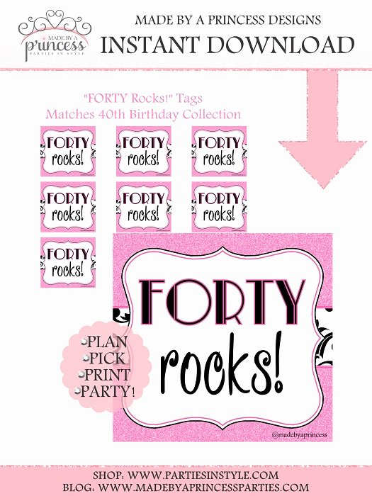 40th Birthday Free Printables Unique 40th Birthday 40 forty Rocks Tags Printable Pdf Instant