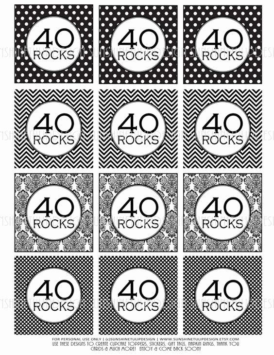 40th Birthday Free Printables Unique 40th Birthday Black and White Printable Diy Cupcake
