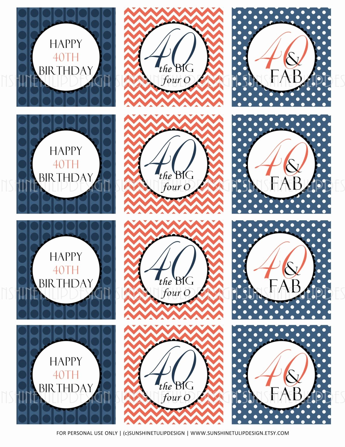 40th Birthday Free Printables Unique 40th Birthday Printable Cupcake toppers Sticker Labels and