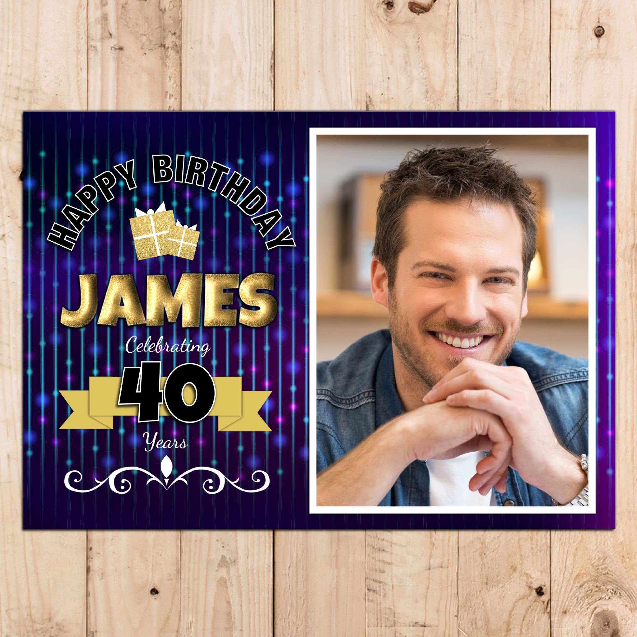 40th Birthday Poster Template Beautiful Personalised Bokeh Happy 18th 21st 30th 40th 50th Birthday