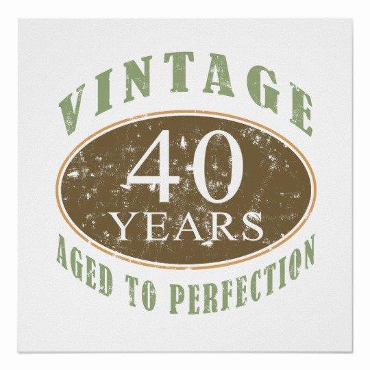 40th Birthday Poster Template Fresh Vintage 40th Birthday Poster
