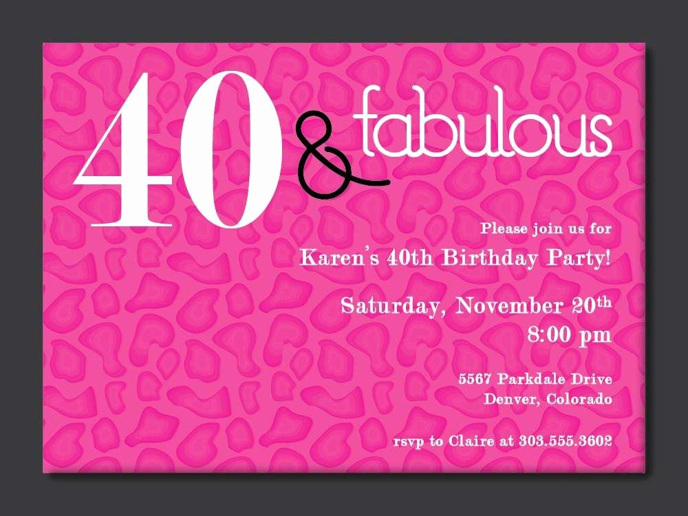 40th Birthday Poster Template New 40th Birthday Free Printable Invitation Template