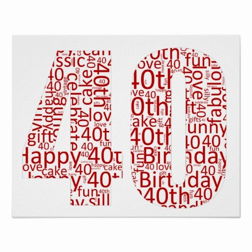 40th Birthday Poster Template Unique Fun 40th Birthday Word Art Poster