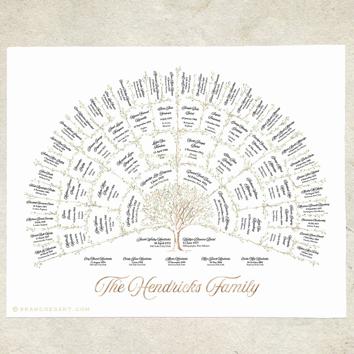 5 Generation Family Tree Inspirational Watercolor Ancestor Tree – 5 Generations – Branches