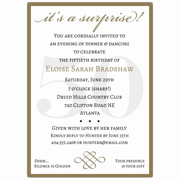 50th Birthday Invitation Wording Samples Inspirational Classic 50th Birthday Red Surprise Invitations