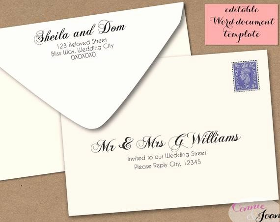 5x7 Envelope Template Microsoft Word Elegant Printable Wedding Envelope Template 5x7 Front and by