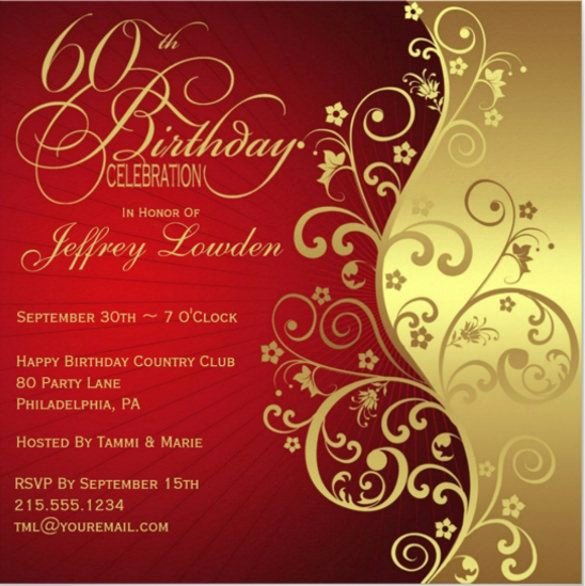 60th Birthday Cards Free Printable Beautiful 60th Birthday Invitation Template – 19 Free Psd Vector