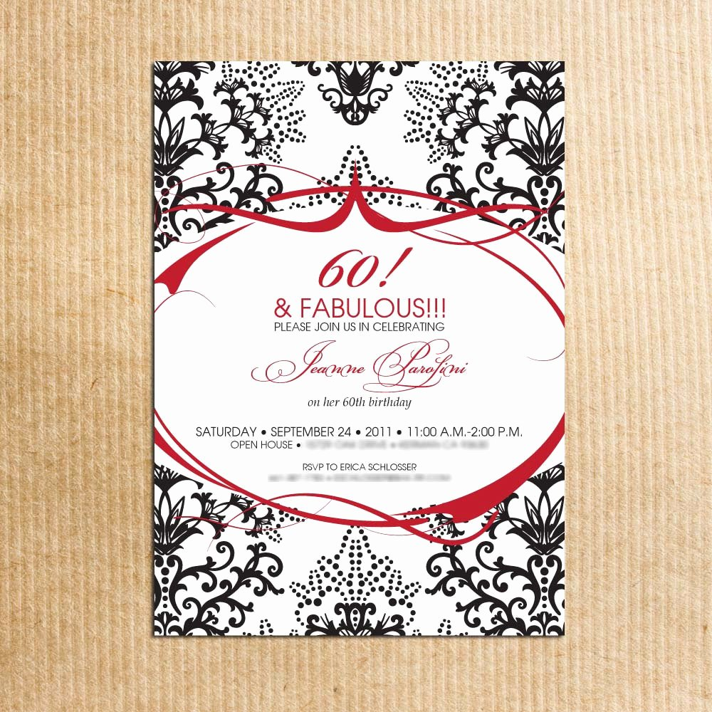 60th Birthday Cards Free Printable Best Of Red Black Damask 60th Birthday Party Invitations Stationery