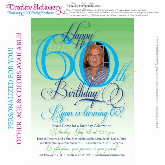 60th Birthday Cards Free Printable Lovely Free Printable 60th Birthday Invitation Cards
