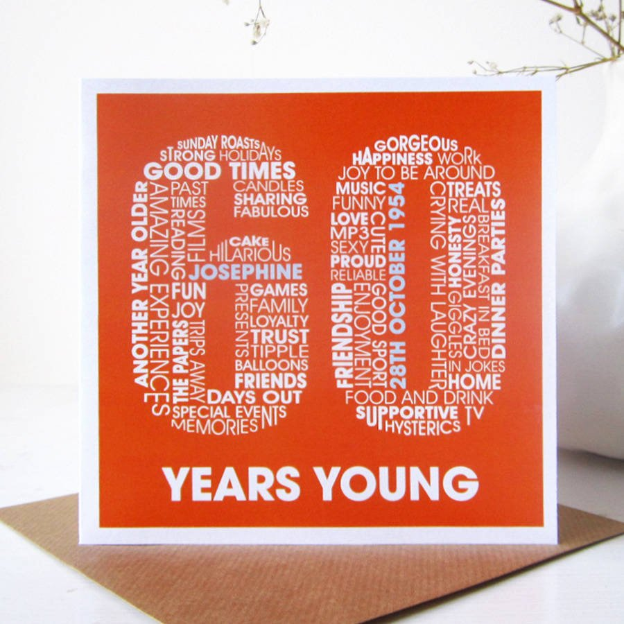 60th Birthday Cards Free Printable Lovely Personalised 60th Birthday Card by Mrs L Cards