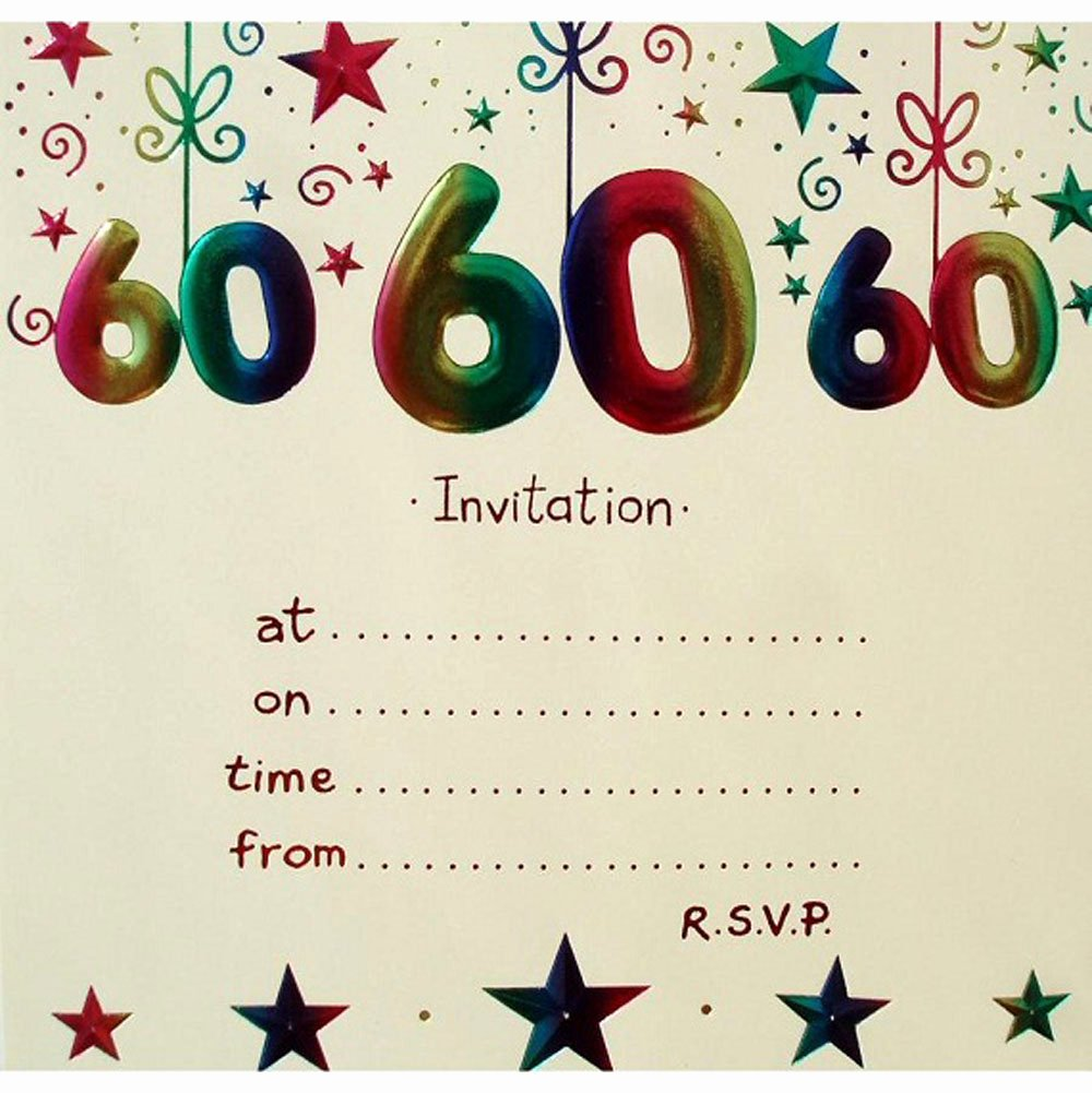 60th Birthday Cards Free Printable New 20 Ideas 60th Birthday Party Invitations Card Templates