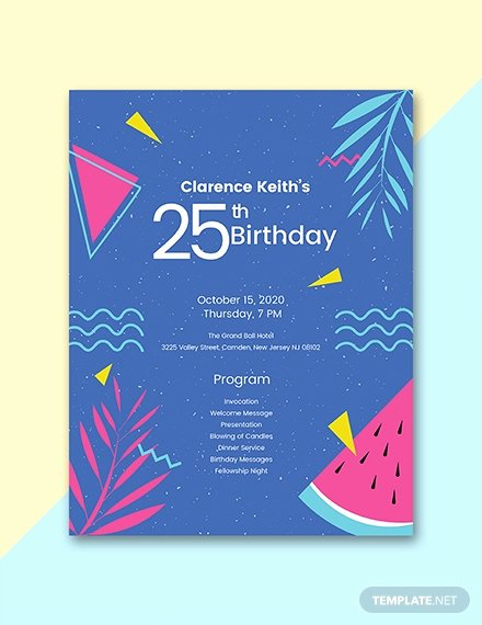 60th Birthday Party Programme Template Unique Free 7th Birthday Program Template Download 31 Program