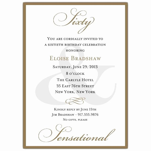60th Birthday Program Sample Elegant Classic 60th Birthday Gold Party Invitations