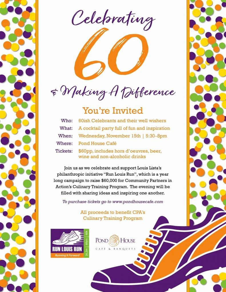 60th Birthday Program Sample Fresh Celebrating 60 Birthday Party Pond House Cafe