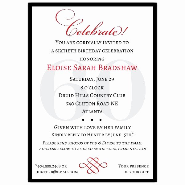 60th Birthday Program Sample New Classic 60th Birthday Celebrate Party Invitations