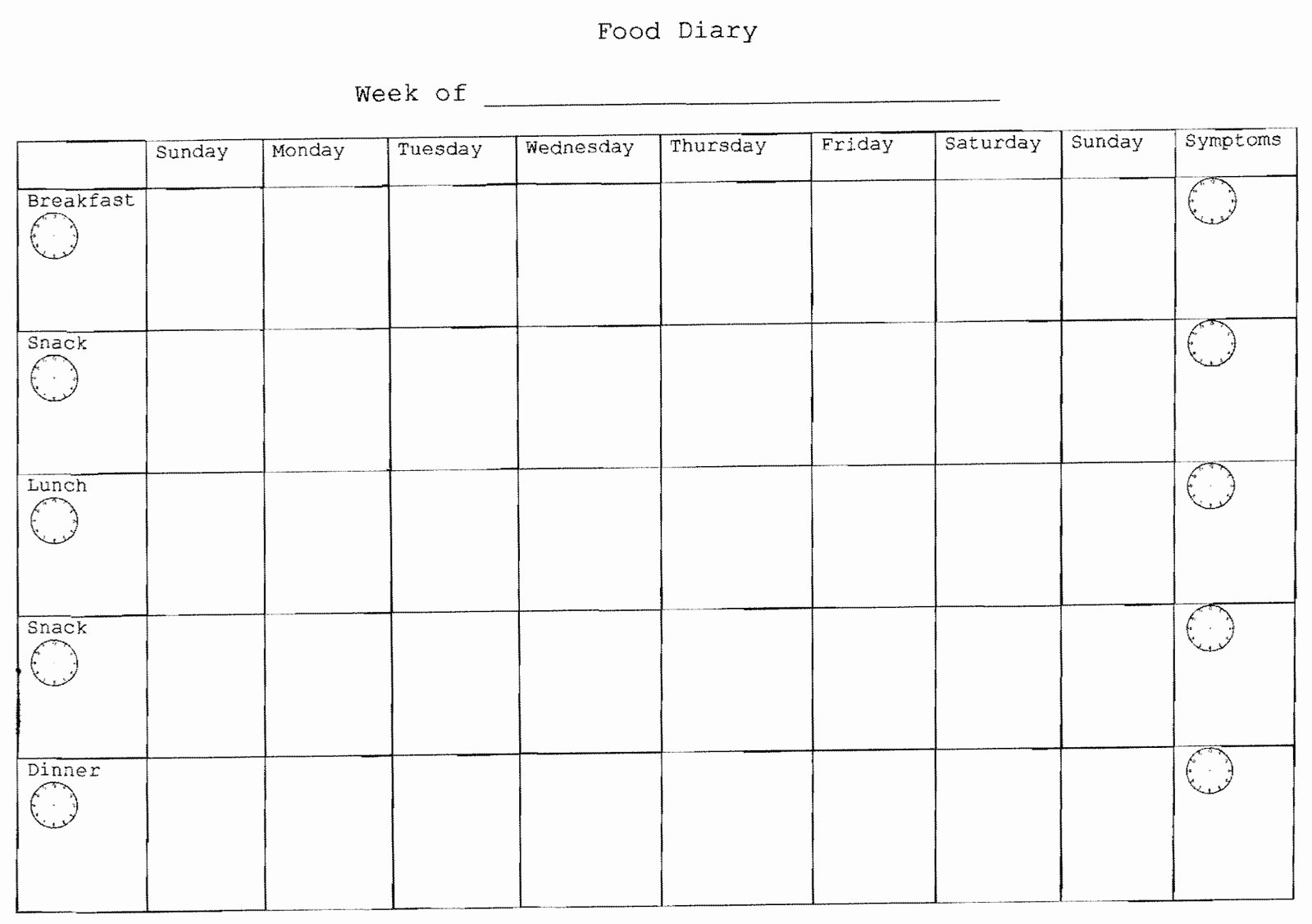 7 Day Food Diary Template Best Of Best S Of Printable 7 Day Food Journal Free