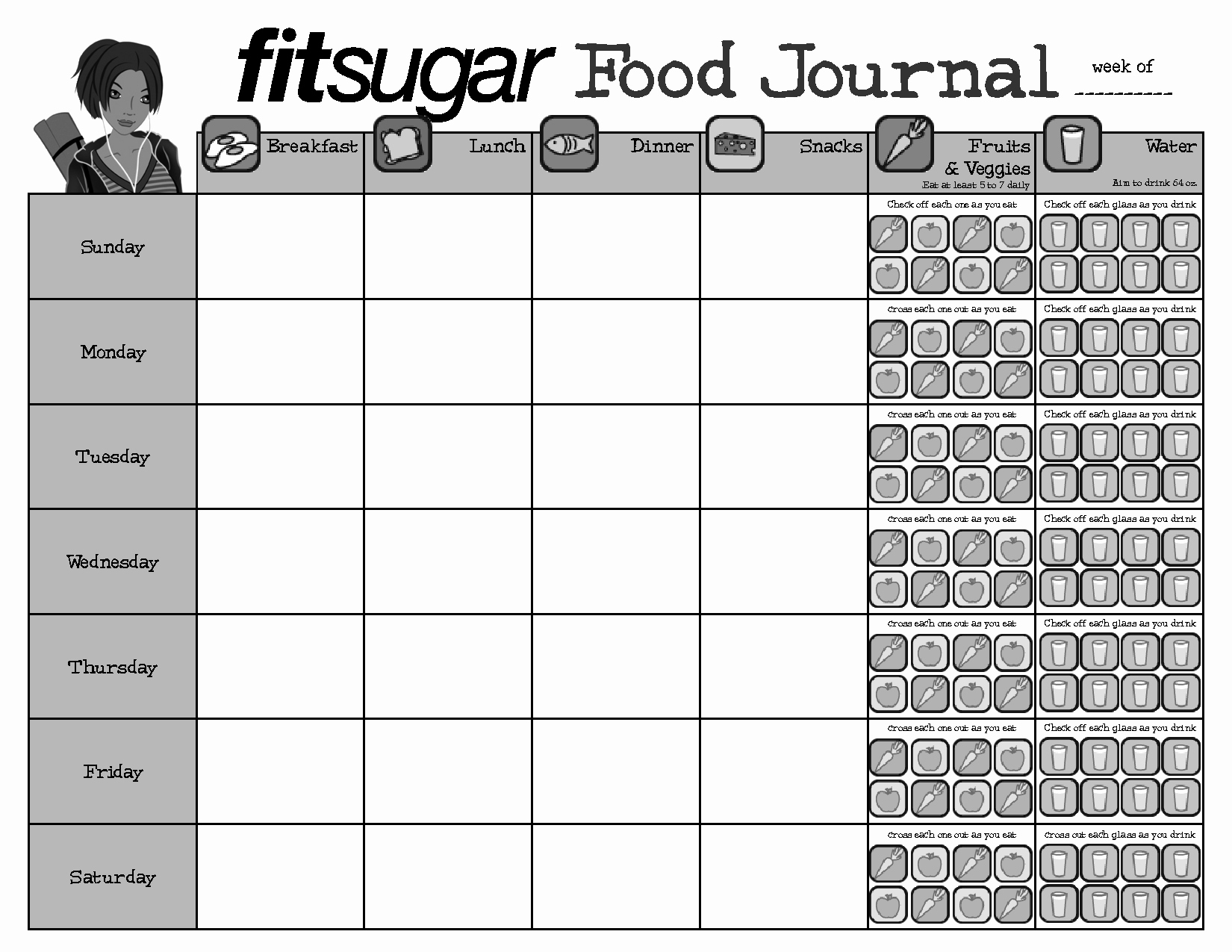 7 Day Food Diary Template Fresh Best S Of Weekly Food Journal Pdf Printable Weekly