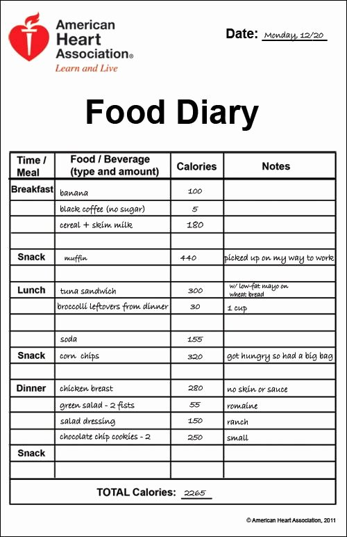 7 Day Food Diary Template Fresh Printable Food Diary Calorie Keeper