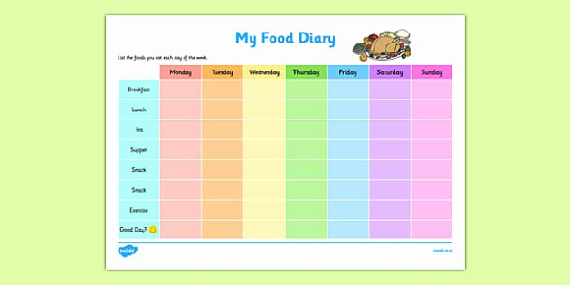 7 Day Food Diary Template Inspirational Food Diary Checklist