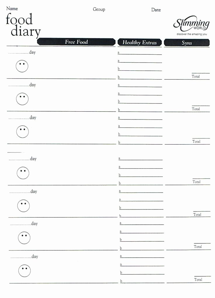 7 Day Food Diary Template Luxury Weight Watchers Menu Planner Template Invitation