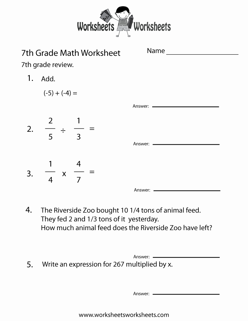 7th Grade Math Algebra Worksheets Beautiful Seventh Grade Math Practice Worksheet Free Printable