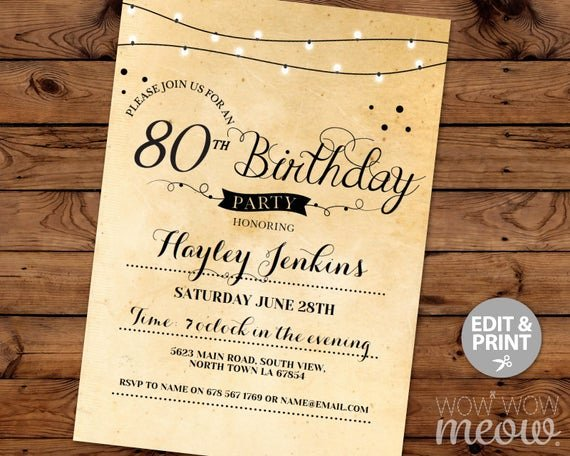 80th Birthday Party Program Fresh 80th Birthday Invitation Elegant Eighty Invitations Party