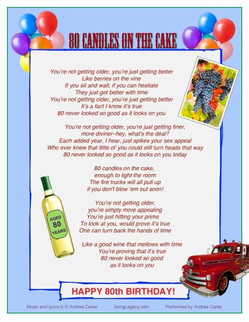 80th Birthday Party Program Fresh Happy 80th Birthday original 80th Birthday song From