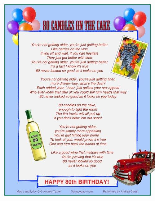 80th Birthday Party Program Fresh Happy 80th Birthday original 80th Birthday song From