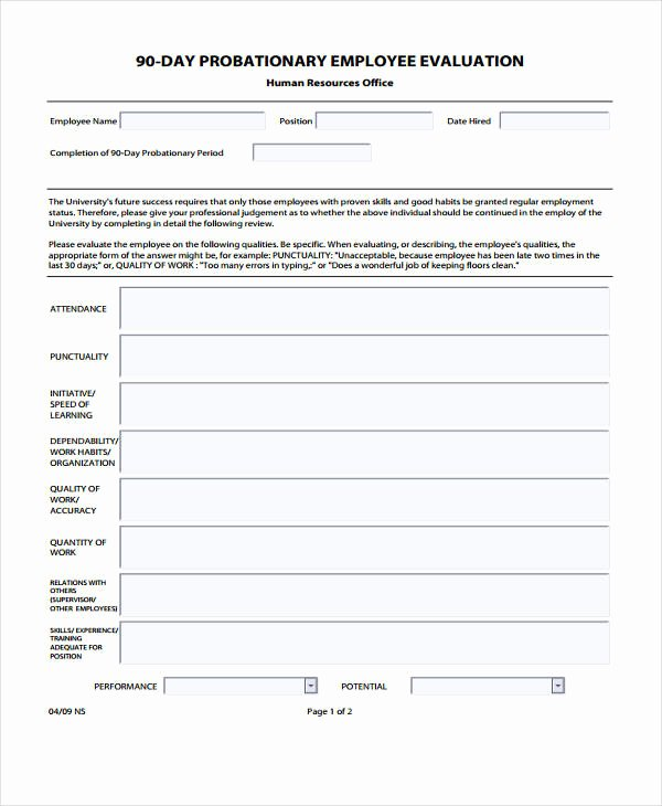 90 Day Employee Evaluation form Best Of Free 30 Employee Evaluation form Examples