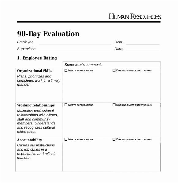 90 Day Employee Evaluation form Elegant 90 Day Review Template