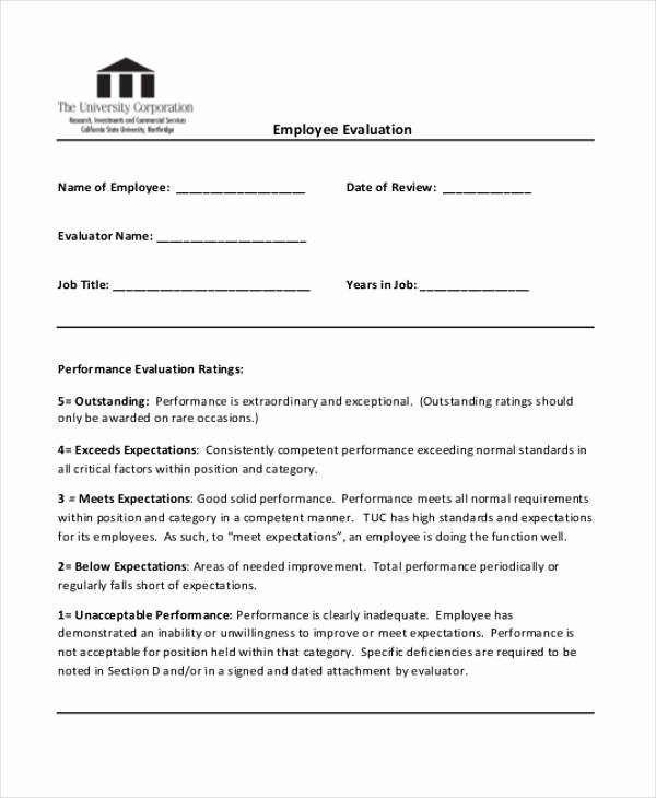 90 Day Employee Evaluation form Lovely 22 Employee Evaluation form Examples & Samples Pdf Doc