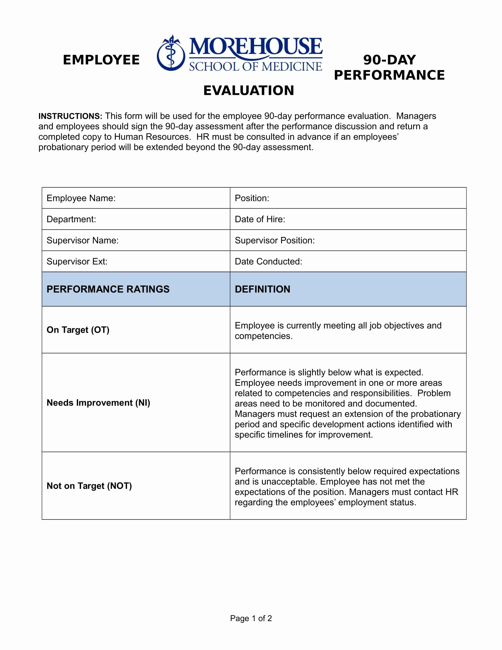 90 Day Employee Evaluation form Lovely Free 14 90 Day Review forms In Pdf
