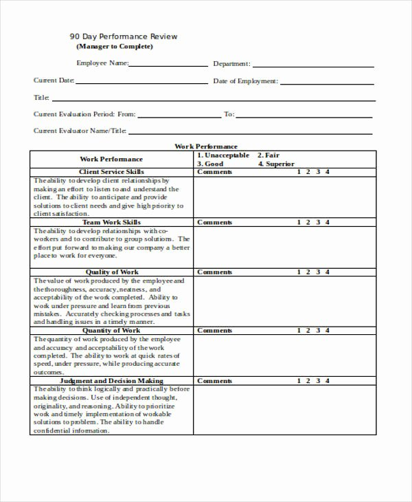 90 Day Evaluation forms Awesome 25 Review forms In Word