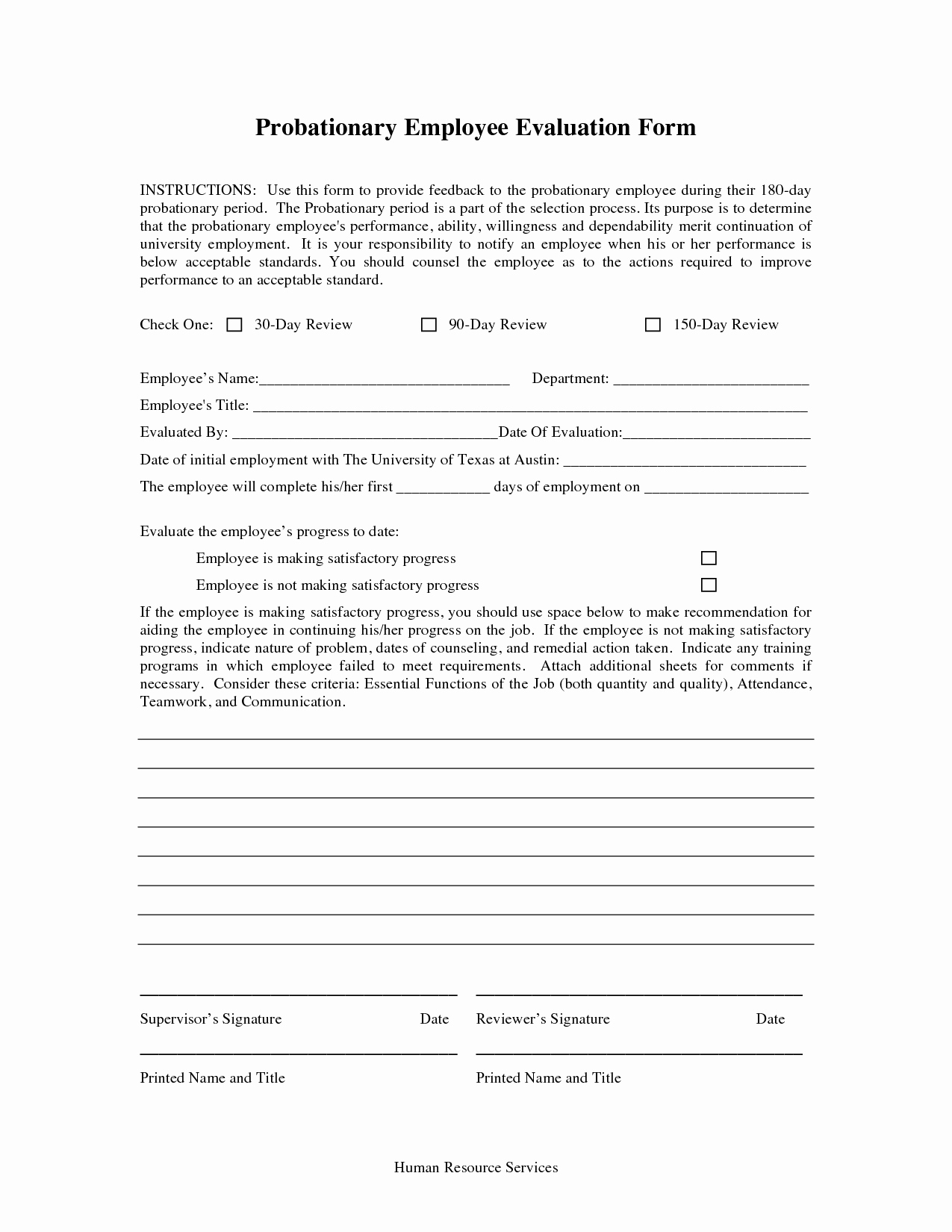 90 Day Evaluation forms Beautiful Best S Of 90 Day Probationary form 90 Day Employee