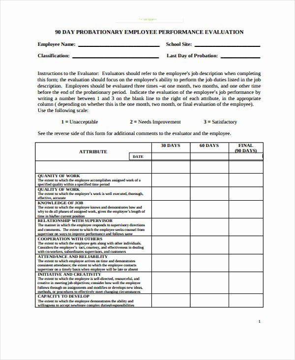 90 Day Evaluation forms Lovely Free 30 Employee Evaluation form Examples