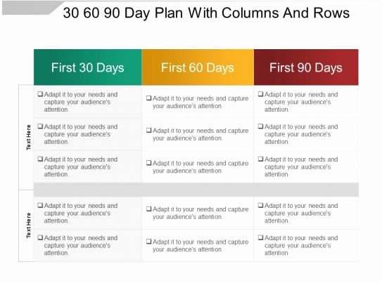 90 Day Plan Examples Beautiful 30 60 90 Day Plan with Columns and Rows Sample Ppt