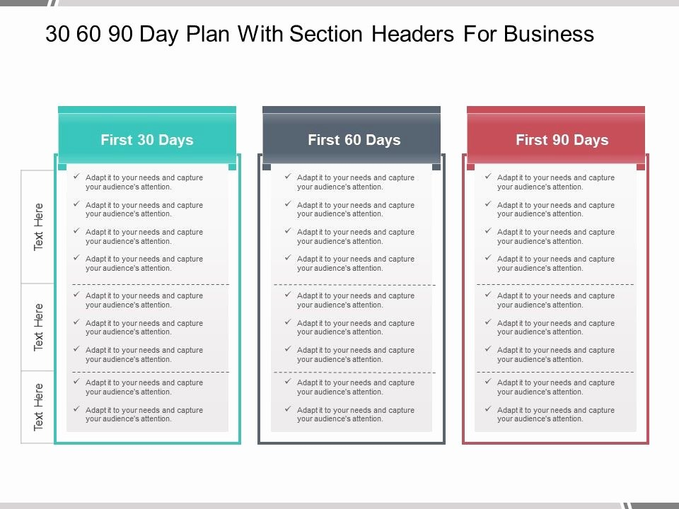 90 Day Plan Examples Fresh 30 60 90 Day Plan with Section Headers for Business
