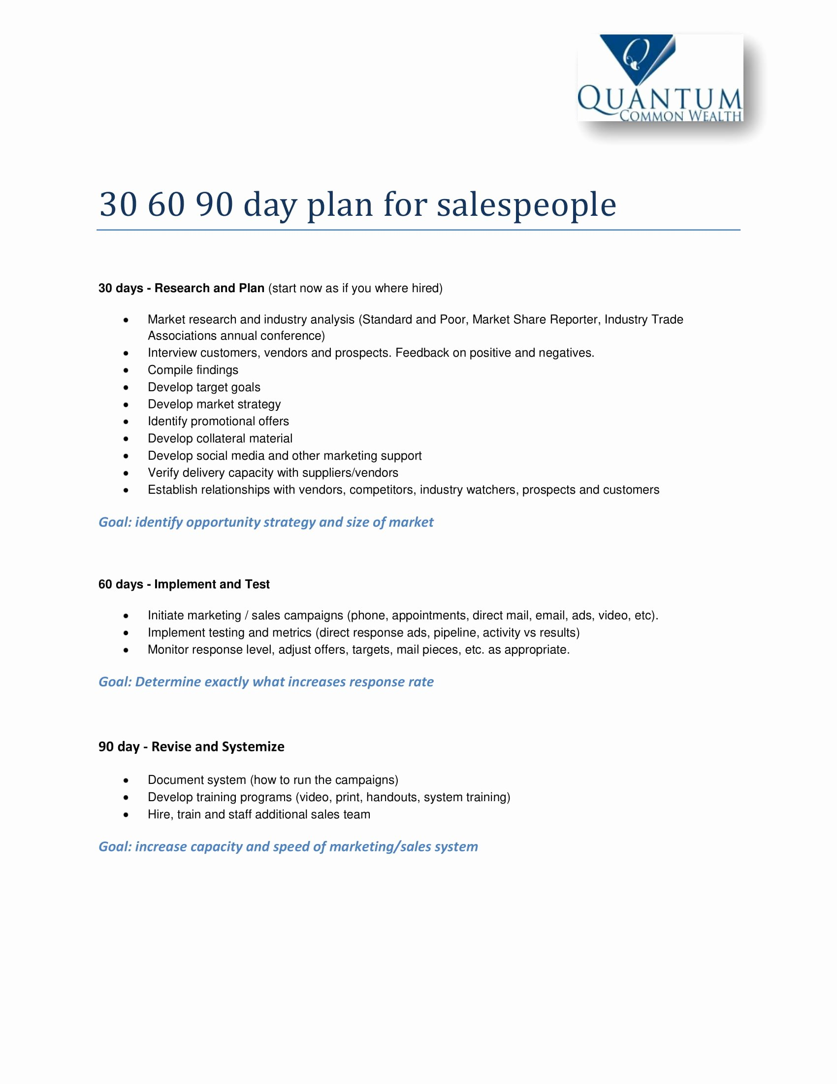 90 Day Plan Examples Lovely 12 30 60 90 Day Sales Plan Examples Pdf Word