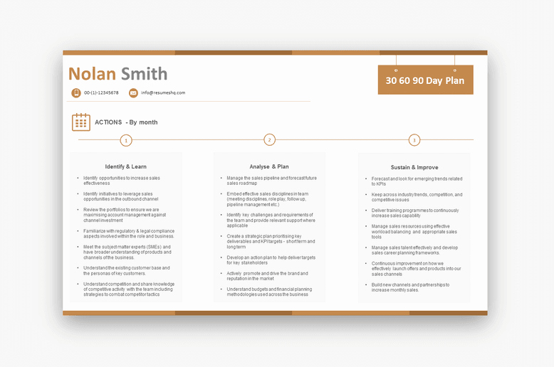 90 Day Plan Examples Lovely 30 60 90 Day Plan Sales $69 00 Resumeshq Designer